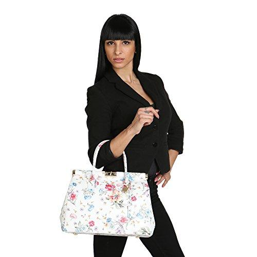 Italy En De Made Cm Con Cuero Chicca Correa Floral Genuino Bolso In Mujer Borse Hombro 35x22x15 0qB7H