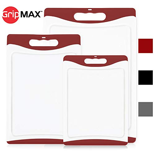 GripMAX Premium Durable Kitchen Cutting Board Set of 3, BPA Free, Dishwasher Safe, Large and Thick Plastic Chopping Mat Boards, Easy-Grip Rubber Handle, Non-Porous, Juice Grooves (3 Piece Set: Red)