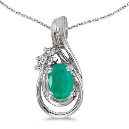 10k White Gold Oval Emerald And Diamond Teardrop Pendant with 16