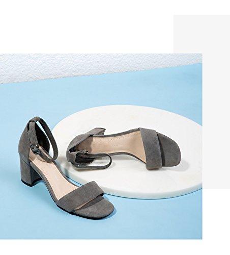 fibbia donna DHG sandali scarpe cinturino donna alti sandali da con da Spessa con 35 estate con casual tacchi Grigio vFRYwqavrx
