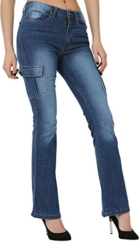 Juicy Trendz Womens Bootcut Jeans Cargo Denim Trousers Ladies Bell Bottom Pants Blue XL