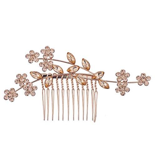 Lux Accessories Rose Gold Rhinestone Bridal Floral Flower Vi