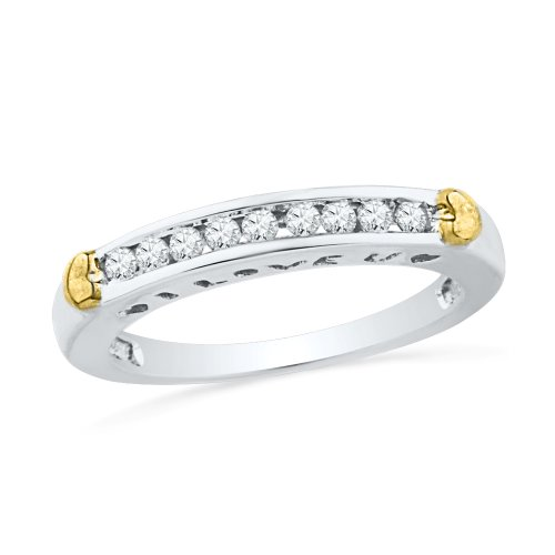 10KT Two Tone Round Diamond Fashion Band Ring (1/5 CTTW) by D-GOLD