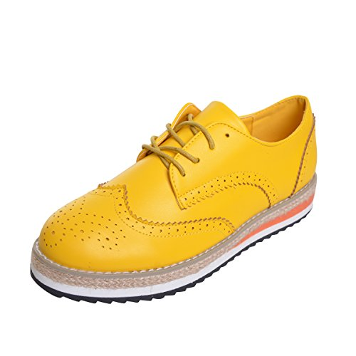 Dear Time Candy Colors Women Oxfords Vintage Platform Brogue Shoes Yellow US 7.5 by Dear Time