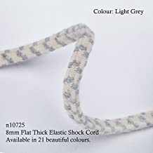 Neotrims 8mm Thick Flat Elastic Shock Cord,Very Strong Bungee Rope, 21 Colours, Chevron Pattern. For Boating, Sailing, Crafts, Garment, Accessories Making. Very Strong and Resilient, Unique size and pattern ONLY to Neotrims, Prefect for Outdoor Activities and Sports