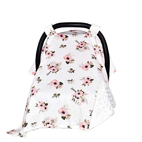 Carseat Canopy and Nursing Cover for Breastfeeding Cool/Warm Weather Infant Car Seat Cover Winter Baby Gifts for Newborn Floral for Boys Girls (Flower/Pink)