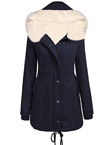 Beyove Womens Parka Jacket Hooded Winter Coats Faux Fur Coat Outdoor Trench, Dark Blue, - Coat Fur Trench