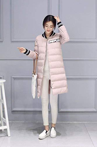 Abrigo Gabardina Bolsillos Capucha Invierno Pluma Stand Cuello Larga Moda Largos Chaqueta Casual Mujer Pink Joven Modernas Manga Con Cremallera Laterales xxwO8U