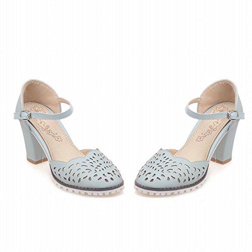 Charm Foot Mujeres Ahueca Hacia Fuera El Talón Grueso Mary Jane Bombea Los Zapatos Azules