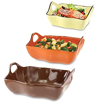 KOVOT Set Of 3 Ceramic Casserole Dishes/Bakeware - Brown, Orange, Yellow