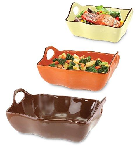 KOVOT Set Of 3 Ceramic Casserole Dishes/Bakeware - Brown, Orange,