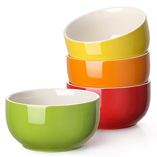 LIFVER 20 Ounces Porcelain Soup Bowl, Cereal Bowl Set, Assorted Colors, Set of 4