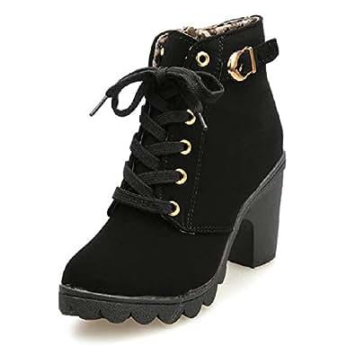 54b391af Botines De Altos Tacón Mujer,Piel con Plataforma Ante Forrados Cordones 8  Cm Zapatos Moda Otoño Invierno Comodos Negro Verde Amarillo Rojo 35-41