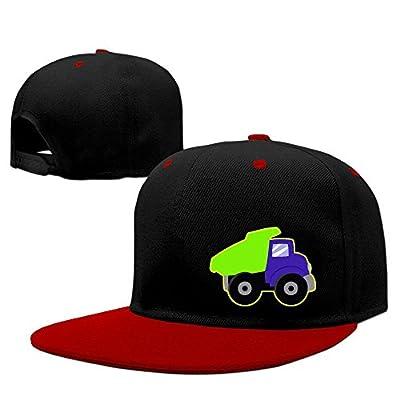 Yellow Dump Truck 2 Solid Flat Bill Snapback Baseball Cap Hip Hop Unisex Custom Hat.