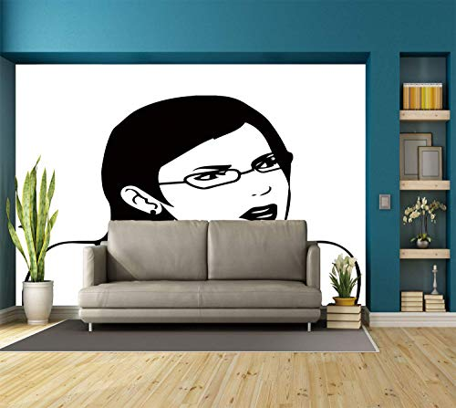 (Funky Wall Mural Sticker [ Humor Decor,Girl Woman Face Meme Unpleasant of Regular Life Situation Online Hipster Image,Black White ] Self-adhesive Vinyl Wallpaper / Removable Modern Decorating Wall)