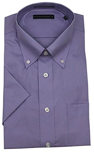 Damon Pinpoint Oxford Button Down Collar Short Sleeve Fashion Color Dress Shirt (Lavender, 15.5)