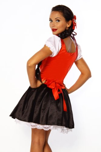 Yourdesignerz Damen Dirndl schwarz-rot-weiß S-M Oktoberfest Oberteil Kleid Dress mit Schürze, Halsband