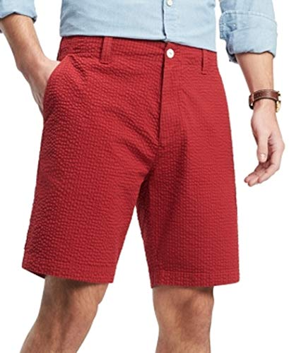 Tommy Hilfiger Mens Seersucker Gingham Chinos Shorts Red - Gingham Seersucker Shorts