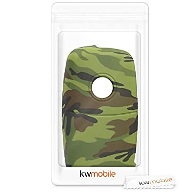 kwmobile Car Key Cover Compatible with VW Skoda SEAT 3 Button Car Key - Silicone Protective Key Fob Cover - Camouflage Black/Light Green/Dark Green: Automotive