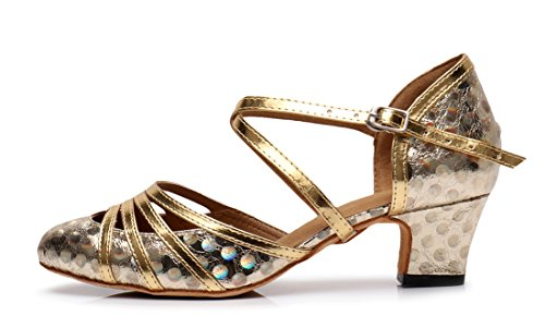 Shoes Floral 5cm Synthetic Ankle Ballroom Joymod Closed Toe Womens Heel Tango Modern MGM Evening Starp Latin Gold Wedding Glitter Dance 0nxZwU