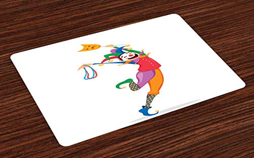 Ambesonne New Orleans Place Mats Set of 4, Mardi Gras Themed Jester Holding Mask and Necklaces Colorful Cartoon Character, Washable Fabric Placemats for Dining Room Kitchen Table Decor, Multicolor