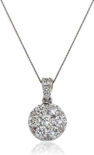 1CT Certified G/VS2 Cluster Diamond Pendant in 18K White Gold