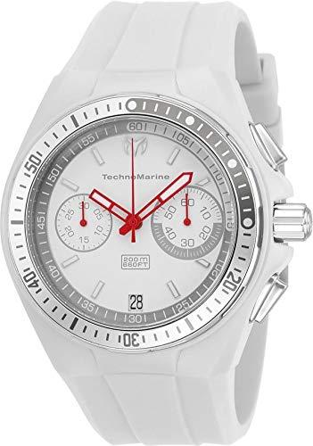 Technomarine Men's Cruise Stainless Steel Quartz Watch with Silicone Strap, White, 28 (Model: TM-115330 ()