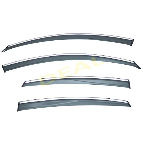 DEAL 4-piece set vent window visor with smoke chrome trim, side window rain guard with outside mount tape-on type, custom fit high-class quality for 2013-2018 Nissan Altima 4-Door Sedan Only
