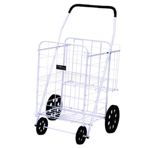 (Easy Wheels Jumbo Shopping Cart Plus, White)