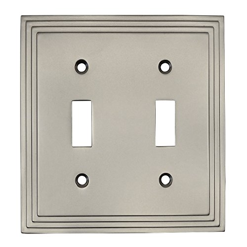 Cosmas 25033-SN Satin Nickel Double Toggle Switch Plate Switchplate Wall Cover ()