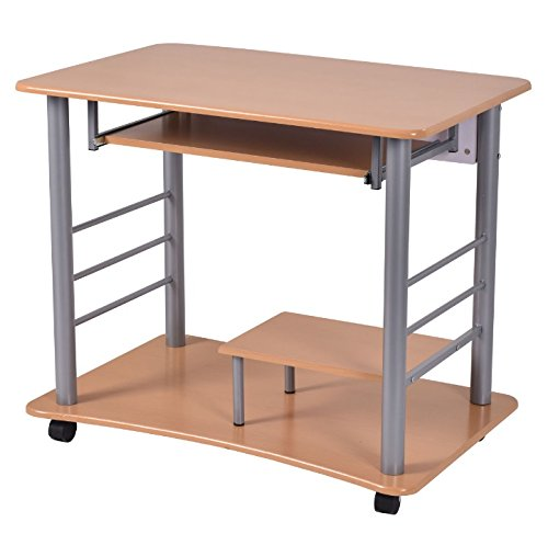 Rolling Computer Desk With Pull-Out Keyboard Tray And Lower Storage Shelf Laptop Notebook PC Workstation Working Writing Table Home Office Space Saving Furniture Spacious Work (Pull Out Notebook Shelf)