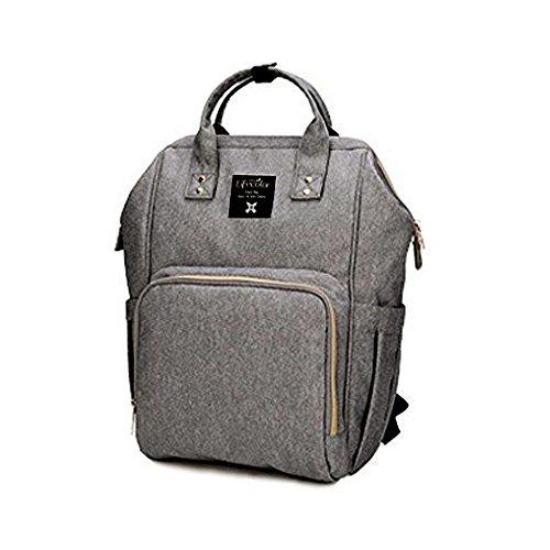 LifeColor bebé pañal bolsa impermeable multifunción mochila de viaje de gran capacidad, elegante y duradero gris gris