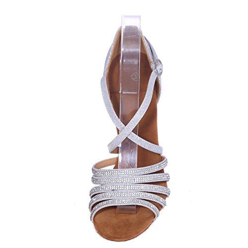 Prom Centimetri Elobaby Satin Buckle Peep Toe Jazz da Scarpe da Samba 7 Platform Donna Tacco Basso Brown Tacco 5 Ballo 88q4Tg