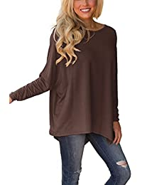 Women Solid Batwing Sleeve Pullover Dolman Tunic Tops Round Neck Loose Blouses