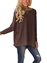 Xuerry Women Batwing Sleeve Pullover Dolman Tops Off Shoulder Loose Blouses A Coffee