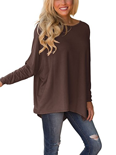 XUERRY Women Batwing Sleeve Pullover Dolman Tops Off Shoulder Loose Blouses(B,Coffee) (Off Shoulder Dolman Top)