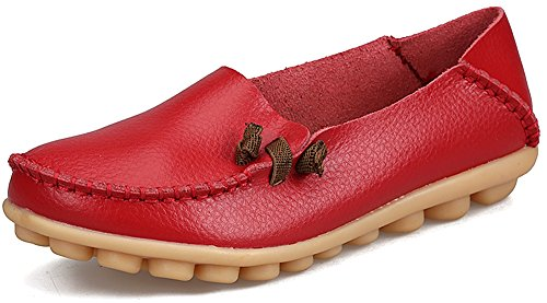 Red Leather Flats Shoes - 4