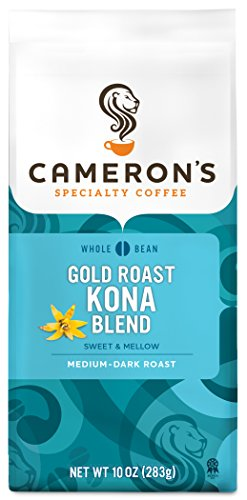 Cameron's Coffee Roasted Whole Bean Coffee, Gold Roast Kona Blend, 10 Ounce