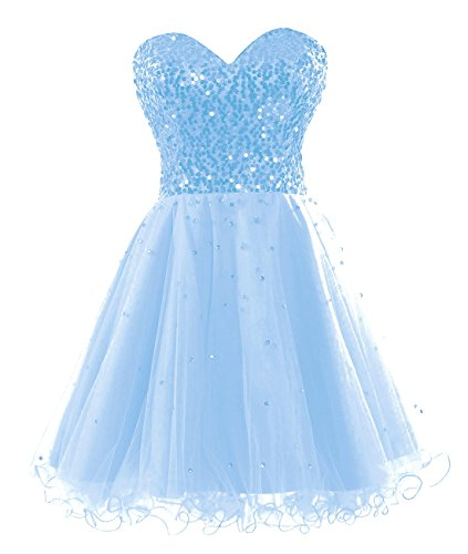 Homecoming Prom Bess Tulle Lace Dresses Short Bridal Women's Sequined up Blue Sky qXq8S0r