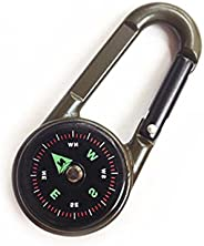 Snowmanna-Assorted Colors 1PC Mini Compass Carabiner Clip 3 in 1 Guiding Thermometer Keyring Keychains for Out