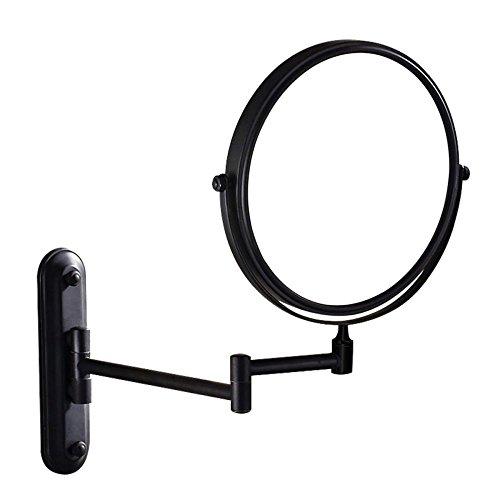 - TUJHGF Makeup Mirror Bathroom Shaving Mirror Metal Rotating Folding Beauty Mirror Round Double Loupe,Black-8in(5X)
