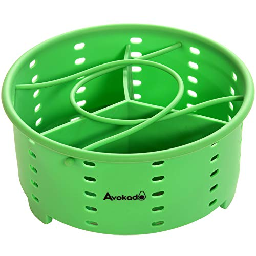Avokados 6Qt Instant Pot Compatible Stackable Silicone Steamer Basket Accessories with an Insert Divider for Instapot Pressure Cookers, Ninja Foodie, Crockpot Express Cooker and Stove Top Pots