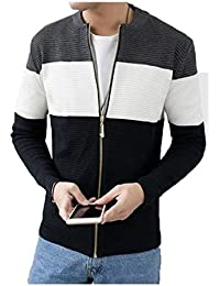 Coolred Men's Long Sleeve Tri-Color Stripe Contrast Knitted Sweater