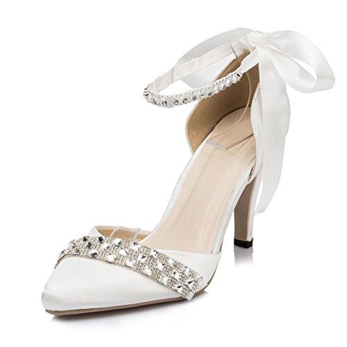 Wedding Prom Women's Kevin Stylish Evening Fashion Bridal Ivory Satin Party JYG091 Ribbon Shoes qwnngxAR