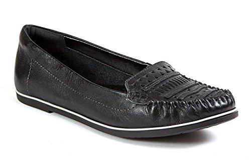 Ramarim 1581102 Totale Comfort Lederen Bestuurder Uitsparing Applique Moc Loafer Schoenen Zwart