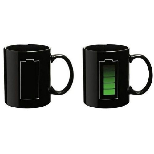 Econoled Tech Battery Color Changing Thermometer Heat Kruzhkus Mug Sensitive Porcelain Tea Coffee Cup