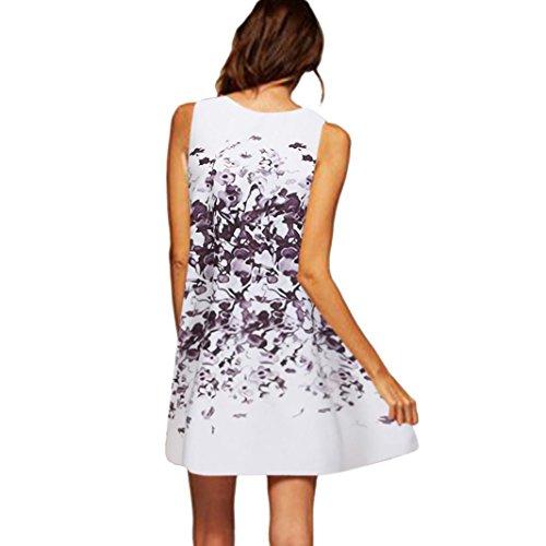 Sleeveless Beach Floral Printed Dress Dress Boho Mini Clearance O Womens Short White AmyDong O Dress T Summer Neck Shirt 6pqwnRC7