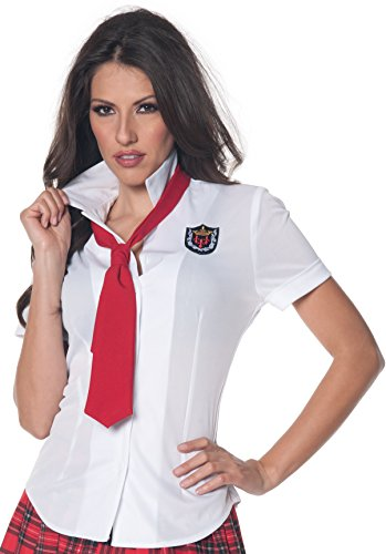Underwraps Women's School Girl Fitted Shirt, White/Red, Small -