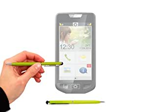 DURAGADGET Two In One Sleek Slimline Ball Point Pen In Lime Green With Stylus End For Emporia Smart