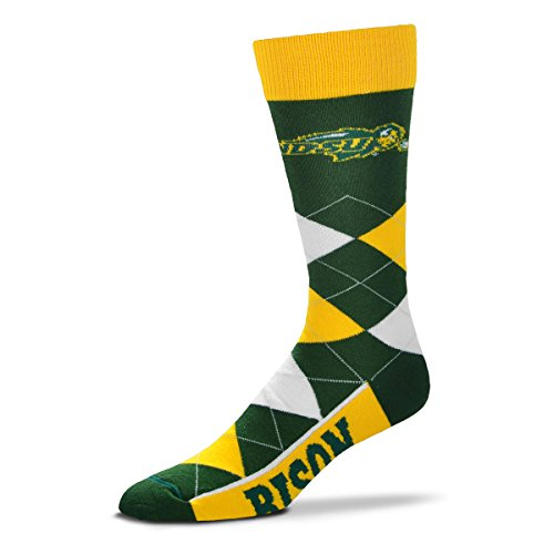 For Bare Feet NCAA Argyle Lineup Unisex Crew Dress Socks-One Size Fits Most-North Dakota State Bison